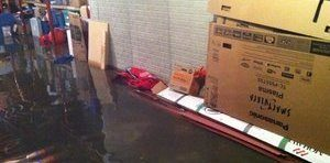 Water Damage From Flooding In Warehouse